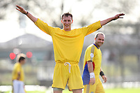 A Real Romania FC player is seen with his arms raised during a Hackney & Leyton League match at Hackney Marshes - 15/11/09 - MANDATORY CREDIT: Gavin Ellis/TGSPHOTO - Self billing applies where appropriate - Tel: 0845 094 6026