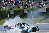 NASCAR Camping World Truck Series<br /> Overton's 150<br /> Pocono Raceway, Long Pond, PA USA<br /> Saturday 29 July 2017<br /> Christopher Bell, SiriusXM Toyota Tundra, does a burnout after winning<br /> World Copyright: John K Harrelson<br /> LAT Images