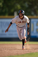 San Jose Giants shortstop Brandon Van Horn (9) hustles to third base during a California League game against the Modesto Nuts at John Thurman Field on May 9, 2018 in Modesto, California. San Jose defeated Modesto 9-5. (Zachary Lucy/Four Seam Images)