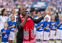 PHILADELPHIA, PA - AUGUST 29: A singer performs the national anthem prior to a game between Portugal and the USWNT at Lincoln Financial Field on August 29, 2019 in Philadelphia, PA.