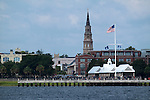 Charleston waterfront pier fountains and st Josephs church steeple