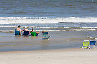 Avon, Outer Banks, North Carolina. Vacationers Failing to Halt the Tide.