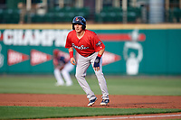 Pawtucket Red Sox center fielder Kyle Wren (24) leads off first base during a game against the Rochester Red Wings on July 4, 2018 at Frontier Field in Rochester, New York.  Pawtucket defeated Rochester 6-5.  (Mike Janes/Four Seam Images)