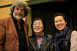 02/05/2014 Trento, Italia. 62nd Trento Film Festival.<br /> Italy's Alpinist Reinhold Messner (L) is seen with Japanese mountain-climber Junko Tabei (C) who, on May 16, 1975, became the first woman to reach the summit of Mount Everest and South Korean female mountaineer Oh Eun Sun.