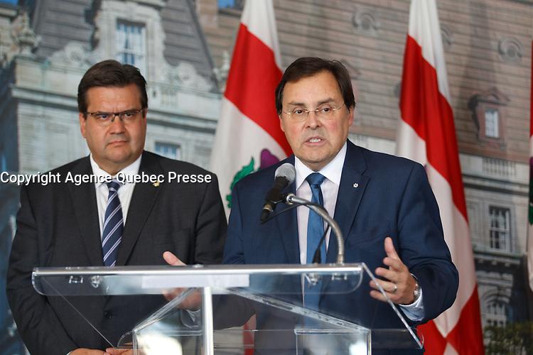 Guy Breton and Montreal mayor Denis Coderre in September 2015.<br /> <br /> photo : Agence Quebec Presse<br /> <br /> <br /> <br /> PHOTO :  Agence Quebec Presse