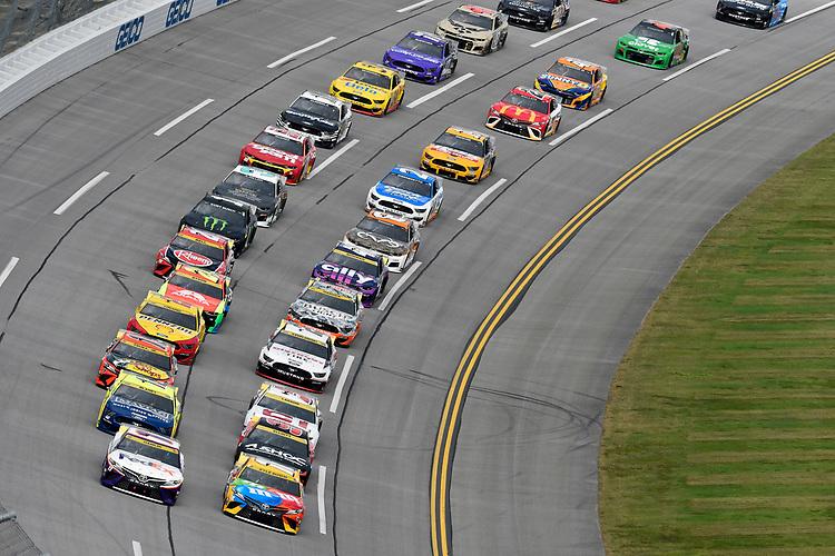 #11: Denny Hamlin, Joe Gibbs Racing, Toyota Camry FedEx Express and #18: Kyle Busch, Joe Gibbs Racing, Toyota Camry M&M's