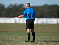 Lakewood Ranch, FL - December 10, 2017: Andrew Kirst referees during the Girls Development Academy in Lakewood Ranch, FL.