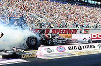 Oct. 29, 2011; Las Vegas, NV, USA: NHRA top fuel dragster driver Rod Fuller during qualifying for the Big O Tires Nationals at The Strip at Las Vegas Motor Speedway. Mandatory Credit: Mark J. Rebilas-