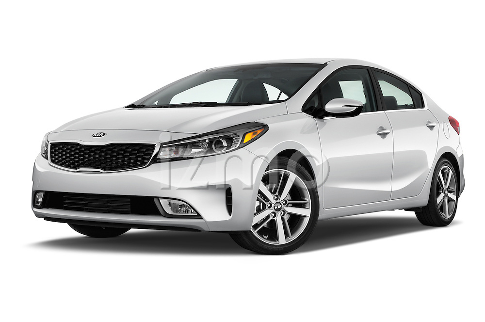 Stock pictures of low aggressive front three quarter view of 2018 KIA Forte EX-AT 4 Door Sedan Low Aggressive