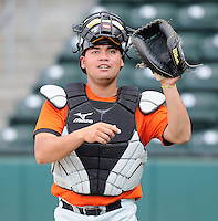 Catcher Eliezer Zambrano (16) of the Augusta GreenJackets, Class A affiliate of the San Francisco Giants, in a game against the Greenville Drive on May 20, 2010, at Fluor Field at the West End in Greenville, S.C. Photo by: Tom Priddy/Four Seam Images