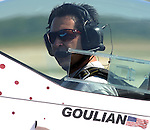 Michael Goulian and Jeff Boerboon rehearse for Oshkosh at Piqua Hartzell Airport