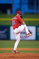 Clearwater Threshers relief pitcher Tyler Gilbert (26) delivers a pitch during a game against the Palm Beach Cardinals on April 14, 2017 at Spectrum Field in Clearwater, Florida.  Clearwater defeated Palm Beach 6-2.  (Mike Janes/Four Seam Images)