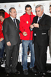Real Madrid player Angel Di Maria (c) and the President Florentino Perez participate and receive new Audi during the presentation of Real Madrid's new cars made by Audi at the Jarama racetrack on November 8, 2012 in Madrid, Spain.(ALTERPHOTOS/Harry S. Stamper)