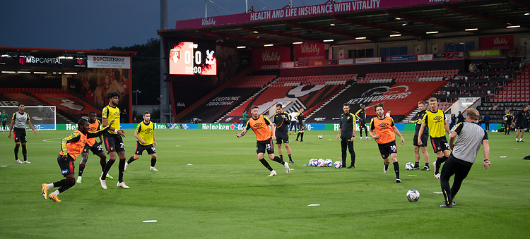 Bournemouth players during the pre-match warm-up <br /> <br /> Photographer David Horton/CameraSport<br /> <br /> Carabao Cup Second Round Southern Section - Bournemouth v Crystal Palace - Tuesday 15th September 2020 - Vitality Stadium - Bournemouth<br />  <br /> World Copyright © 2020 CameraSport. All rights reserved. 43 Linden Ave. Countesthorpe. Leicester. England. LE8 5PG - Tel: +44 (0) 116 277 4147 - admin@camerasport.com - www.camerasport.com