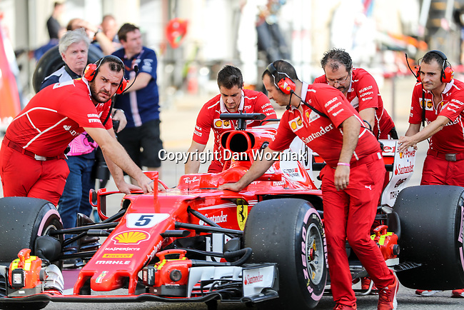 Ferrari car (5) of Germany after qualifying for this weekends Formula 1 United States Grand Prix race at the Circuit of the Americas race track in Austin,Texas.