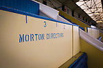 Greenock Morton 2 Stranraer 0, 21/02/2015. Cappielow Park, Greenock. Designated seating for home club directors inside the stadium, pictured before Greenock Morton take on Stranraer in a Scottish League One match at Cappielow Park, Greenock. The match was between the top two teams in Scotland's third tier, with Morton winning by two goals to nil. The attendance was 1,921, above average for Morton's games during the 2014-15 season so far. Photo by Colin McPherson.