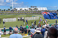 The teams line up before day one of the international cricket 1st test match between NZ Black Caps and England at Bay Oval in Mount Maunganui, New Zealand on Thursday, 21 November 2019. Photo: Dave Lintott / lintottphoto.co.nz