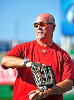 9 July 2011: Washington Nationals Assistant Trainer Mike McGowan tosses ball prior to a game against the Colorado Rockies at Nationals Park in Washington, District of Columbia. The Nationals were edged out by the Rockies 2-1, dropping the second game of their 3-game series. Mandatory Credit: Ed Wolfstein Photo