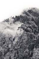 Tall mountain crags and columnar basalt outcroppings are seen with tall evergreen trees shrouded in foggy mist decending down the mountain in this black and white rendering portrait orientation