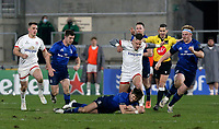 6 March 2021; Ross Byrne dives on this loose ball as Ian Madigan closes in during the Guinness PRO14 match between Ulster and Leinster at Kingspan Stadium in Belfast. Photo by John Dickson/Dicksondigital