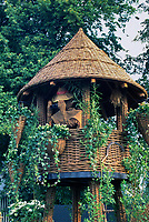 "Willow treehouse & adorable wicker ""birdwatcher' with binoculars for children's fun, climbing vines"