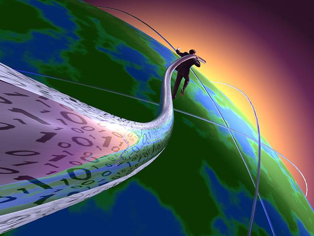 Man running around world connecting fiber optics cable
