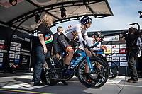 Team Spain at the race start in Knokke-Heist<br /> <br /> Mixed Relay TTT <br /> Team Time Trial from Knokke-Heist to Bruges (44.5km)<br /> <br /> UCI Road World Championships - Flanders Belgium 2021<br /> <br /> ©kramon