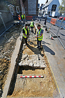 BNPS.co.uk (01202 558833)<br /> Pic: Zachary Culpin/BNPS<br /> <br /> Pictured: The team record their findings at the second dig site. <br /> <br /> An archaeological dig is underway at the site of a bloody Civil War battle in a bid to uncover artefacts hidden for 376 years.<br /> <br /> Four exploratory trenches have been dug as part of the excavation of the former medieval high street in Weymouth, Dorset.<br /> <br /> The seaside town witnessed the Battle of Weymouth in February 1645 where Parliamentarians outnumbered by six to one saw off a Royalist plot to seize it.<br /> <br /> Five hundred people were killed during the fighting and had the Royalists won, Charles I would have secured the safe south coast port he needed to land 35,000 French troops - potentially altering the course of history.