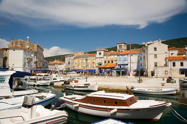 Old boats in the habour near the main square in Cres Town on the island of Cres, Kvarner region, Croatia, Adriatic, Europe