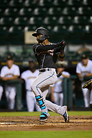 Jupiter Hammerheads Monte Harrison (3) bats during a game against the Bradenton Marauders on June 26, 2021 at LECOM Park in Bradenton, Florida.  (Mike Janes/Four Seam Images)