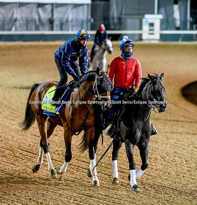 April 24, 2021: Mandaloun, trained by Brad Cox, jogs on the track at Churchill Downs in Louisville, Kentucky. (Scott Serio/Eclipse Sportswire/CSM)