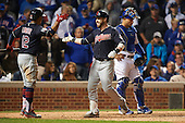 Cleveland Indians against the Chicago Cubs during Game Four of the World Series on October 29, 2016 at Wrigley Field in Chicago, Illinois.  Cleveland defeated Chicago 7-2.  (Mike Janes/Four Seam Images)