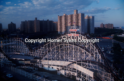 Astroland. The Cyclone.General view of Coney Island New York New Yorl USA Circa 1970.
