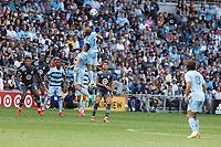 ST. PAUL, MN - AUGUST 21: Johnny Russell #7 of Sporting Kansas City with a header during a game between Sporting Kansas City and Minnesota United FC at Allianz Field on August 21, 2021 in St. Paul, Minnesota.