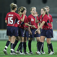 MAR 15, 2006: Faro, Portugal:  USWNT defender (4) Catherine Whitehill is congratulated on converting her penalty kick while playing Germany at the Algarve Cup Finals in Faro, Portugal.