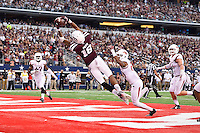 Texas A&M wide receiver Edward Pope (18) catches a pass for a touchdown during  an NCAA Football game, Saturday, September 27, 2014 in Arlington, Tex. Arkansas leads 21-14 at the halftime. (Mo Khursheed/TFV Media via AP Images)<br /> <br /> ** Caption Corrected**
