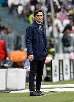 Calcio, Serie A: Juventus vs Sampdoria. Torino, Juventus Stadium, 14 maggio 2016. <br /> Sampdoria's coach Vincenzo Montella follows the game during the Italian Serie A football match between Juventus and Sampdoria at Turin's Juventus Stadium, 14 May 2016.<br /> UPDATE IMAGES PRESS/Isabella Bonotto