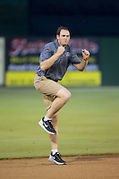 Kannapolis Intimidators Director of Communications Josh Feldman dances for the crowd between innings of the South Atlantic League game against the West Virginia Power at Intimidators Stadium on July 3, 2015 in Kannapolis, North Carolina.  The Intimidators defeated the Power 3-0 in a game called in the bottom of the 7th inning due to rain.  (Brian Westerholt/Four Seam Images)