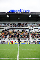 20130303 Copyright onEdition 2013©.Free for editorial use image, please credit: onEdition..General view of the East Stand before the Premiership Rugby match between Saracens and London Welsh at Allianz Park on Sunday 3rd March 2013 (Photo by Rob Munro)..For press contacts contact: Sam Feasey at brandRapport on M: +44 (0)7717 757114 E: SFeasey@brand-rapport.com..If you require a higher resolution image or you have any other onEdition photographic enquiries, please contact onEdition on 0845 900 2 900 or email info@onEdition.com.This image is copyright onEdition 2013©..This image has been supplied by onEdition and must be credited onEdition. The author is asserting his full Moral rights in relation to the publication of this image. Rights for onward transmission of any image or file is not granted or implied. Changing or deleting Copyright information is illegal as specified in the Copyright, Design and Patents Act 1988. If you are in any way unsure of your right to publish this image please contact onEdition on 0845 900 2 900 or email info@onEdition.com