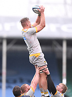 14th February 2021; Sixways Stadium, Worcester, Worcestershire, England; Premiership Rugby, Worcester Warriors versus Wasps; Brad Shields of Wasps wins the lineout ball