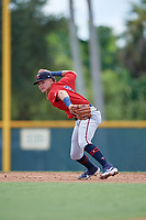 GCL Twins shortstop Keoni Cavaco (9) throws to first during a Gulf Coast League game against the GCL Pirates on August 6, 2019 at Pirate City in Bradenton, Florida.  GCL Twins defeated the GCL Pirates 1-0 in the second game of a doubleheader.  (Mike Janes/Four Seam Images)