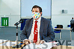 Mayor of Kerry Cllr Niall Kelliher at the Kerry County Council meeting which was held at the Kerry Sports Acadamy building at the IT Tralee campus due to Covid-19 restrictions.