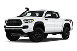 Stock pictures of low aggressive front three quarter view of 2020 Toyota Tacoma TRD-Pro 4 Door Pick-up Low Aggressive