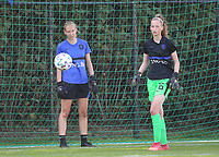 Elinę Sol of the Netherlands and Roos van Eijk (16) of the Netherlands during the warm up before an international friendly female soccer game between the national teams of Belgium , called the Red Flames U17 and the Netherlands on Wednesday 8th of September 2020  in Kalmthout , Belgium . PHOTO SPORTPIX.BE | SPP | SEVIL OKTEM