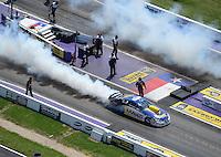 Apr. 28, 2012; Baytown, TX, USA: Aerial view of NHRA pro stock driver Rodger Brogdon during qualifying for the Spring Nationals at Royal Purple Raceway. Mandatory Credit: Mark J. Rebilas-