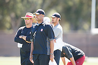 STANFORD,CA-- August 24, 2013: David Shaw, head coach, and coaches during the open practice at the Dan Elliott Practice Field Saturday.<br /> <br /> It was part the Stanford Football 2013 Open House.
