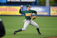 Siena Saints infielder Jordan Bishop (4) throws to first during the second game of a doubleheader against the Michigan Wolverines on February 27, 2015 at Tradition Field in St. Lucie, Florida.  Michigan defeated Siena 6-0.  (Mike Janes/Four Seam Images)