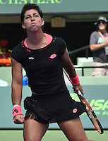 KEY BISCAYNE, FL - APRIL 02: Carla Suarez Navarro of Spain defeats Andrea Petkovic of Germany in their semi final match during the Miami Open Presented by Itau at Crandon Park Tennis Center on April 2, 2015 in Key Biscayne, Florida.<br /> <br /> <br /> People:  Carla Suarez Navarro<br /> <br /> Transmission Ref:  FLXX<br /> <br /> Must call if interested<br /> Michael Storms<br /> Storms Media Group Inc.<br /> 305-632-3400 - Cell<br /> 305-513-5783 - Fax<br /> MikeStorm@aol.com
