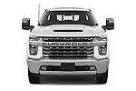 Car photography straight front view of a 2020 Chevrolet Silverado-3500 LTZ 4 Door Pick-up Front View