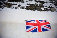 2013 Giro d'Italia.stage 15: Cesana Torinese - Col du Galibier (Valloire)..snowed in Union Jack